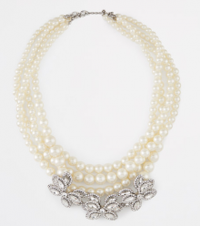 Ann Taylor: Pearlized Crystal Brooch Statement Necklace $89.99!