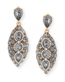 Bergdorf Goodman: Oscar de la Renta  Navette Crystal Drop Clip Earrings $256