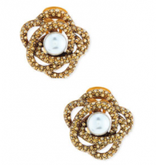 Bergdorf Goodman: Oscar de la Renta Rosette Button Clip-On Earrings $260