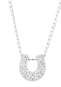 Jewelry.com: Mini Horseshoe Pendant with Diamonds $34