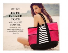 Victoria's Secret: Free Island Tote With $75 Purchase