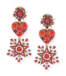 Bergdorf Goodman: Oscar de la Renta  Red Crystal Stars & Heart Drop Earrings $316
