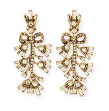 Bergdorf Goodman: Oscar de la Renta  Floral Baguette Crystal Clip Earrings $234