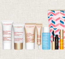 Clarins: 7 Piece Gift & Makeup Bag with $75+ Purchase